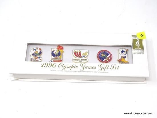 OLYMPIC GAMES PIN SET; 1996 OLYMPIC GAMES GIFT SET, IMPRINTED PRODUCTS CORPORATION. COMES IN BRAND