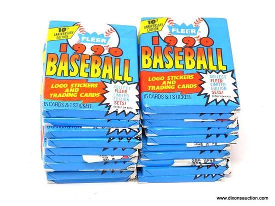 LOT OF UNOPENED FLEER BASEBALL WAX PACKS; 20 PIECE LOT OF FLEER 1990 BASEBALL TRADING CARDS AND