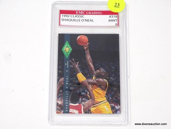 SHAQ GRADED CARD; SHAQUILLE O'NEAL 1992 CLASSIC GAMES CARD #318. EMC GRADING IN PLASTIC CASE.