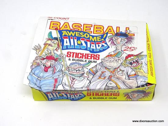 BASEBALL AWESOME ALL STARS WAX PACKS; 36 COUNT OF LEAF 1988 BASEBALL AWESOME ALL STARS STICKERS &