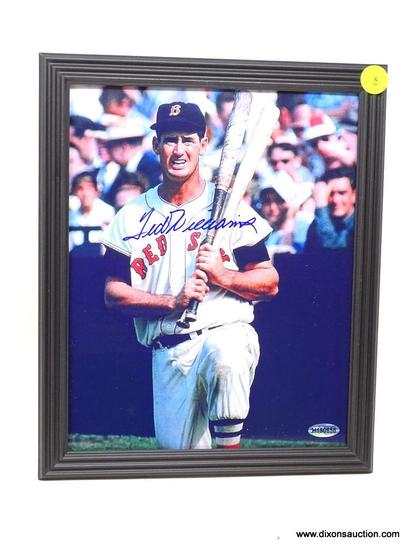 TED WILLIAMS AUTOGRAPHED FRAME; TED WILLIAMS AUTOGRAPHED FRAMED PHOTO; COMES IN BLACK FRAME WITH