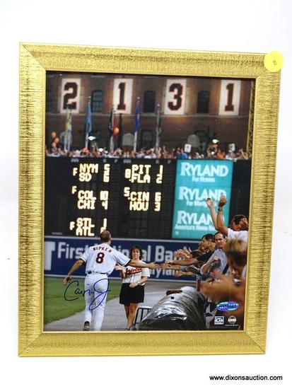 CAL RIPKEN AUTOGRAPHED FRAME; CAL RIPKEN AUTOGRAPHED FRAMED PHOTO; COMES IN GOLD TONED FRAME WITH