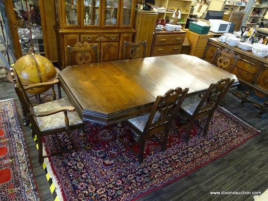 DINING ROOM TABLE WITH 6 CHAIRS; SET OF MAHOGANY DINING ROOM TABLE WITH 6 FIDDLEBACK CHAIRS WITH