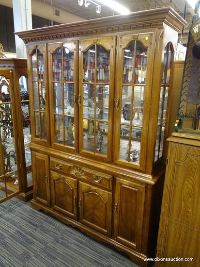 OAK CHINA CABINET; OAK CHINA CABINET WITH DENTAL MOLDING AROUND THE TOP AND 4 GLASS PANELED DOORS