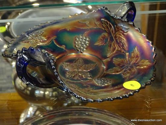 IRIDESCENT KEY BOWL; DECORATIVE IRIDESCENT GLASS KEY BOWL WITH FLORAL DESIGNS, LEAFED EDGES, AND 2