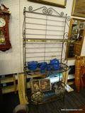 METAL BAKERS RACK WITH GOLD TONE LINING; 3 SHELF METAL BAKERS RACK WITH GOLD TONE LINING AND A