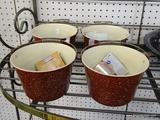LOT OF FARMSTAND BAKING PAILS; 4 PIECE LOT OF RED WITH WHITE DOTS FARMSTAND BAKING PAILS. COMES WITH