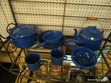 LOT OF ENAMEL KITCHENWARE; 16 PIECE LOT OF BLUE WITH WHITE DOTS ENAMEL KITCHENWARE TO INCLUDE 6