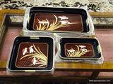 LOT OF DECORATIVE FOOD TRAYS; 3 PIECE LOT OF A SMALL, MEDIUM AND LARGE SERVING TRAY WITH A REDDISH