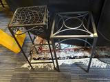 LOT OF METAL SIDE TABLES; 2 PIECE LOT OF BLACK METAL SIDE TABLES, ONE WITH ARCH DETAILING AND 4 BOX