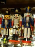 LOT OF SOLDIER NUTCRACKERS; 3 PIECE LOT OF NUTCRACKER WOOD KING CROWN RED, WHITE, AND BLUE SOLDIER