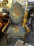 VICTORIAN STYLE CHAIR; VICTORIAN STYLE CHAIR WITH A BLUE FLORAL FABRIC BACK AND SEAT CUSHION. HAS