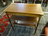 DARK STAINED WOOD END TABLE; DARK STAINED WOOD GRAIN END TABLE WITH ROUNDED SHOULDERS AND A LOWER