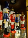 LOT OF SOLDIER NUTCRACKERS; 4 PIECE LOT OF NUTCRACKER WOOD KING CROWN RED, WHITE, AND BLUE SOLDIER