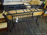ASHLEY FURNITURE METAL TABLE; METAL TABLE WITH MISSING GLASS TABLE TOP. MEASURES 48 IN X 20 IN X