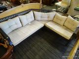 WOVEN L SHAPED PATIO SOFA; L SHAPED DARK BROWN WOVEN L-SHAPED SOFA. COMES WITH CREAM COLORED
