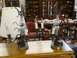 CORNER TABLE LAMP; PAIR OF CORNER METAL TABLE LAMPS. LAMP LOOKS LIKE AN OLD CANDLE HOLDER, HAS 3