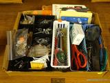 LOT OF JUNK DRAWER ITEMS; ASSORTED LOT OF JUNK DRAWER TOOLS, NAILS, AND MORE.