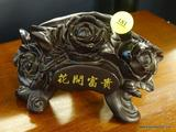 ORIENTAL ROSE CARD HOLDER; ORIENTAL BLACK ROSE CARD HOLDER WITH GOLD TONE CHARACTERS ON THE FRONT.