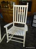 OUTDOOR ROCKING CHAIR; WHITE WOODGRAIN OUTDOOR PORCH ROCKING CHAIR WITH BANNISTER BACKS. MEASURES 31
