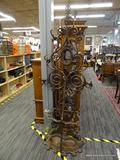 ROD IRON COAT RACK; ROD IRON HALL TREE COAT RACK WITH FLORAL DESIGNS AND AN UMBRELLA STORAGE RACK.