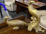 SYROCO GOLD TONE PEACOCKS; SYROCO GOLD GILT PEACOCKS VINTAGE HOLLYWOOD REGENCY BIRDS WOODEN DECOR