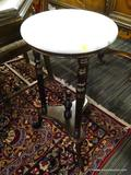 MARBLE TOP SIDE TABLE; SIDE TABLE WITH A ROUND WHITE MARBLE TOP WITH A MAHOGANY BASE. MARBLE SITS ON