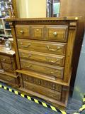 CEDAR TALL BOY; CEDAR TALL BOY WITH DENTAL MOLDING AND 5 DRAWERS, TOP ONE HAS METAL KNOBS, THE NEXT