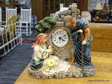 ANTIQUE MANTLE CLOCK; ANTIQUE DECORATIVE QUARTZ MANTEL CLOCK,