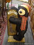 DAN DEE COLLECTORS CHOICE WELCOME BEAR; DAN DEE COLLECTORS HUGE BLACK BEAR & WELCOME SLED. MEASURES