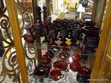 LOT OF CAPE COD RUBY AVON GLASSWARE; 21 PIECE LOT OF AVON CAPE COD RUBY GLASSWARE TO INCLUDE 11 WINE