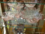 LOT OF PINK FLORAL GLASSWARE; 2 PIECE LOT OF FLORAL CUT TO THE CLEAR PINK STAINED GLASS DISHES TO