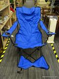 FOLDABLE CAMPING CHAIR WITH FOOTREST; BLUE FOLDABLE CAMPING WITH FOOTREST IN TRAVEL BAG.