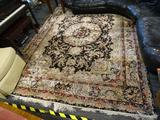 HAND KNOTTED LIGHT BROWN AND BROWN RUG; LIGHT BROWN RUG WITH COLORFUL FLORAL AND RIBBON DESIGNS