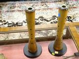 PAIR OF VINTAGE WOODEN SPOOL ORGANIZER; WOODEN SPOOLS, WOOD TEXTILE MILL BEEHIVE BOBBINS INDUSTRIAL