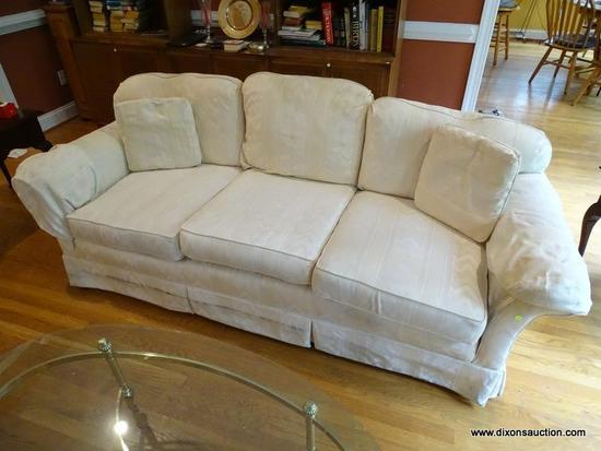 (LR) SOFA; HICKORY CRAFT WHITE FLAME STITCHED UPHOLSTERED SOFA, MINOR STAIN ON TOP CUSHION, BUT