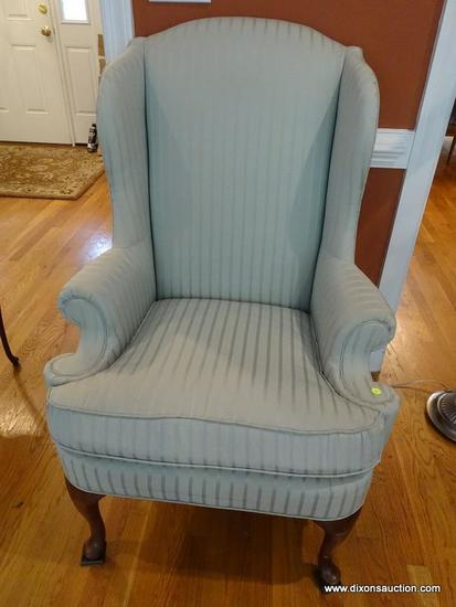(LR) WING CHAIR; THOMASVILLE CHERRY QUEEN ANNE WING CHAIR WITH GREEN STRIPED UPHOLSTERY- VERY GOOD