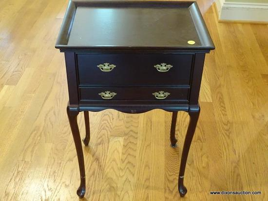 (LR) STAND; BOMBAY CHERRY QUEEN ANNE 2 DRAWER STAND- HAS 2 VELVET LINED DRAWERS WITH DIVIDERS- VERY