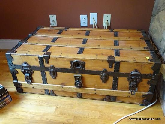 (LR) ANTIQUE TRUNK, ANTIQUE PINE TRUNK- WITH METAL STRAPS AND HARDWARE- REFINISHED AND READY FOR THE
