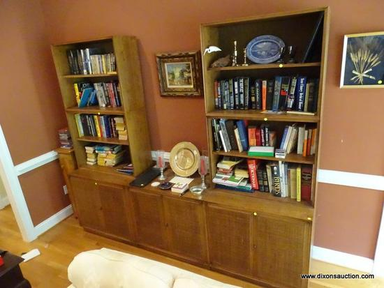 (LR) BOOKCASE CREDENZA; 7 PC. MID CENTURY MODERN WALNUT BOOKCASE CREDENZA WITH WOVEN CANE DOORS- 4