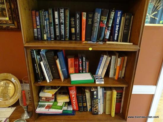 (LR) BOOK LOT; 3 SHELVES OF NOVELS AND OTHER BOOKS- INCLUDES NOVELS BY JOHN SANDFORD, ROBERT LUDLUM,