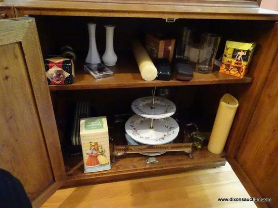 (LR) CABINET CONTENTS; CONTENT INCLUDES CANDLES IN BOXES, BRASS AND 2 MILK GLASS VASES, 2 ETCHED