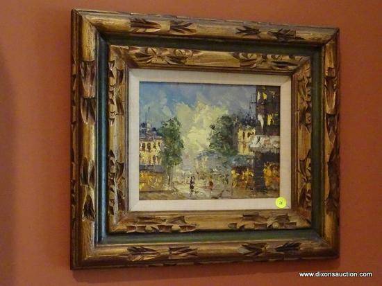 (LR) FRAMED OIL PAINTING; FRAMED OIL ON CANVAS OF A EUROPEAN STREET SCENE IN A PAINTED GOLD AND