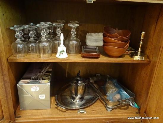 (LR) SHELF LOT; LOT INCLUDES- 19 CRYSTAL STEMS- 7 RED WINE AND 12 WHITE WINE, 6 MAHOGANY DANISH