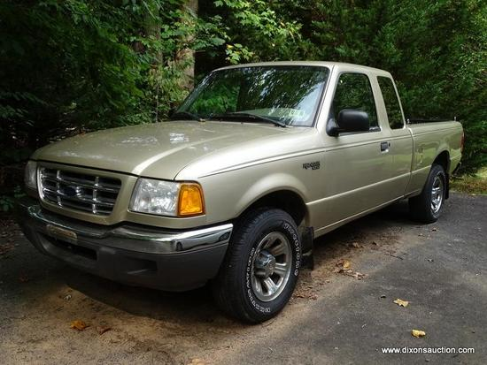 2001 FORD PICKUP; 2001 FORD RANGER XLT EXTENDED CAB PICKUP WITH 73,016, TAN WITH BEIGE UPHOLSTERY IN