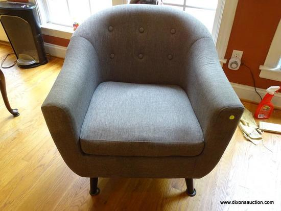 (LR) CHAIR; MODERN GRAY ARM CHAIR WITH BUTTON TUFTED BACK- 30 IN X 25 IN X 31 IN, VERY CLEAN