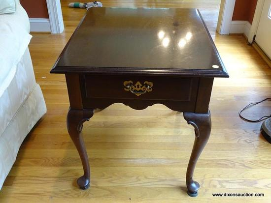 (LR) END TABLE; ONE OF A PR. OF ETHAN ALLEN CHERRY QUEEN ANNE END TABLES, ONE DRAWER DOVETAILED WITH