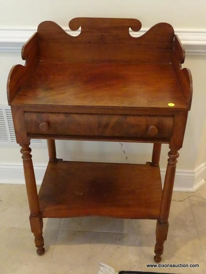 (FOYER) ANTIQUE WASHSTAND; ANTIQUE SHERATON WASHSTAND WITH GALLERY BACK, 1 DRAWER WITH BURL INLAY