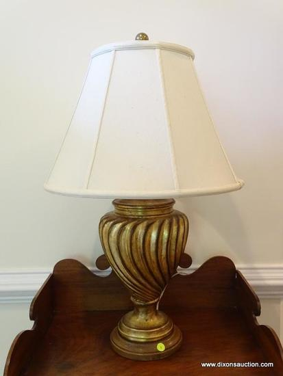 (FOYER) LAMP; COMPOSITION GOLD TONED LAMP WITH SHADE- 30 IN H