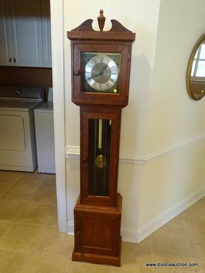(FOYER) GRANDMOTHER CLOCK; WALNUT GRANDMOTHER CLOCK, BENCHMADE CASE, BRASS WORKS MADE IN WEST